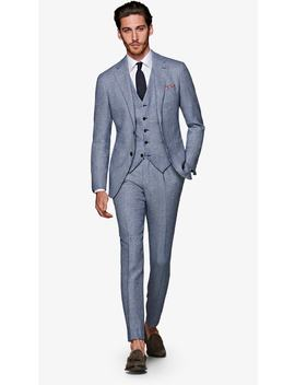 Havana Light Blue Houndstooth Suit by Suitsupply