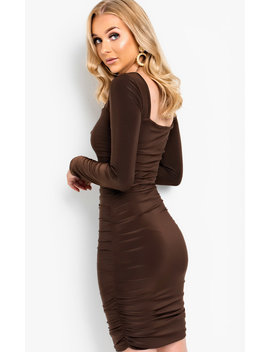 Avril Ruched Bodycon Dress In Brown by Ikrush