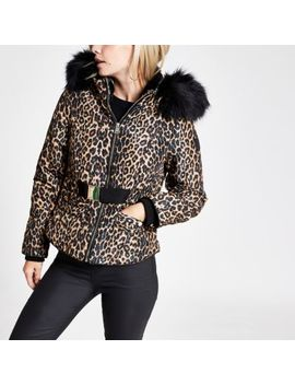 Petite Brown Leopard Print Belted Puffer Coat by River Island