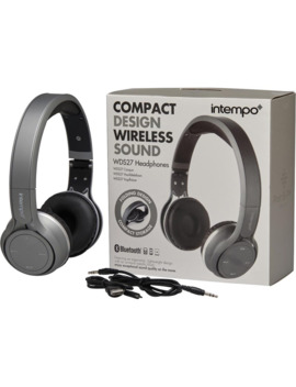 Intempo Compact Design Wireless Bluetooth Headphones Silver by Mand M Direct.Com