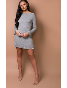 Paris Ribbed Pearl Dress In Grey by Ikrush
