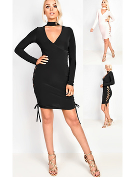 Reyna Wrap Bodycon Dress In Black by Ikrush