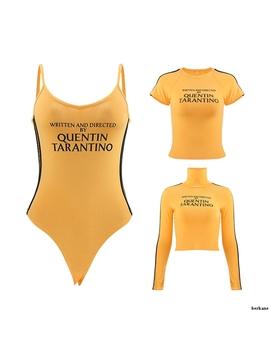 Quentin Tarantino Short T Shirt Yellow Sexy Crop Tops Tumblr Women Grunge Stripe Long Sleeve Cotton Knitted Tees Art Fashion by Ali Express.Com