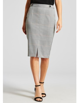 Check Pencil Suit Skirt by Matalan