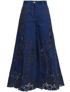 Guipure Lace Paneled High Rise Wide Leg Jeans by Valentino