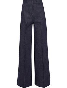 Embroidered High Rise Wide Leg Jeans by Victoria Beckham