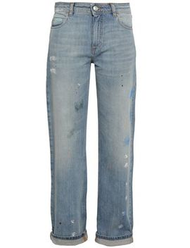 Painted Distressed High Rise Straight Leg Jeans by Alexachung