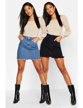 2 Pack High Waist Denim Mini Skirt by Boohoo