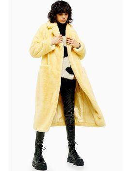 Buttermilk Maxi Length Faux Fur Coat by Topshop
