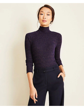 Shimmer Ribbed Turtleneck Top by Ann Taylor