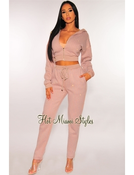 Dusty Mauve Iridescent Rhinestone Hoodie Joggers Two Piece Set by Hot Miami Style