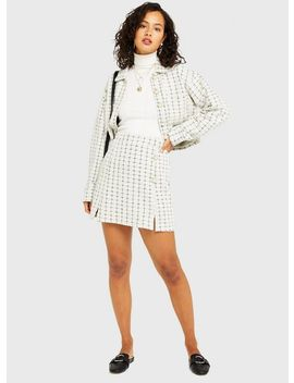 Ivory Jersey Boucle Skirt by Miss Selfridge