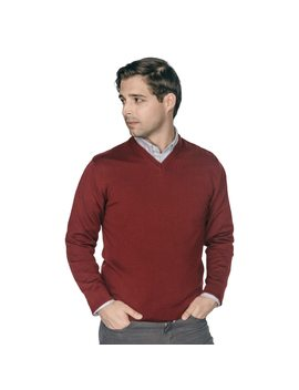 Zegna Merino Wool V Neck Sweaters   Burgundy by Peter Manning