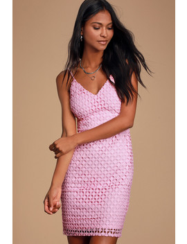 Kindhearted Pink Lace Sleeveless Mini Dress by Lulus