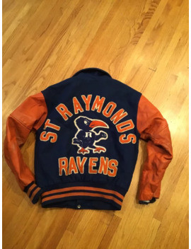 Vtg 50s 60s Fordham St. Raymond Ravens New York Bronx Letterman Varsity Jacket. Size 42 by Vintage  ×