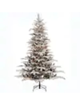 Puleo International 7.5 Ft Pre Lit Flocked Artificial Christmas Tree With 700 Constant White Clear Incandescent Lights by Lowe's