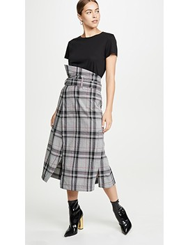 Plaid Belted Topstitch Skirt by 3.1 Phillip Lim
