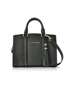 Mademoiselle Ana Black Leather Small Satchel Bag by Lancaster Paris