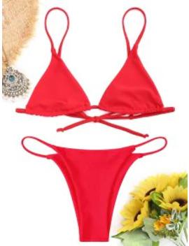 Popular Bralette Thong String Bikini Set   Red M by Zaful