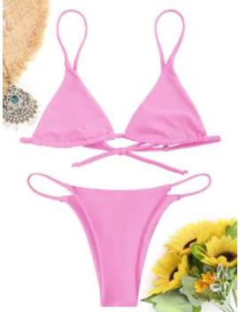 Popular Bralette Thong String Bikini Set   Pink L by Zaful