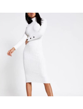 Cream Roll Neck Cable Knitted Bodycon Dress by River Island