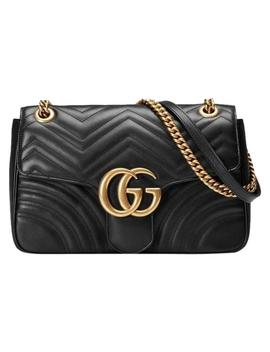 Marmont Gg 2.0 Medium Quilted Black Mateless Leather Shoulder Bag by Gucci