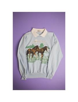 Vintage Pastel Blue Horse Sweatshirt 1991 by Depop