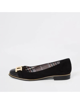 Black Snaffle Front Wide Fit Ballet Shoes by River Island
