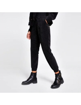 Black Corduroy Jogger Trousers by River Island