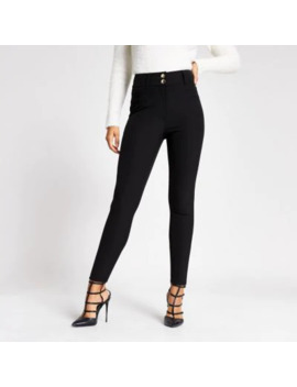 Black High Corset Waist Skinny Fit Trousers by River Island