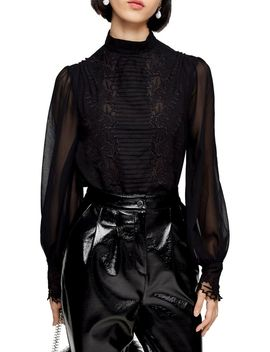 Idol Embroidered Cutwork Blouse by Topshop