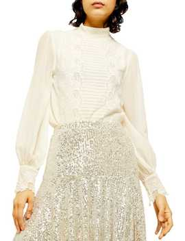 Petite Idol Embroidered Cutwork Top by Topshop
