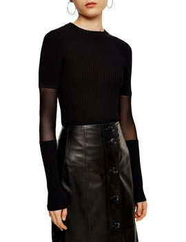 Mesh Sleeve Knit Top By Boutique by Topshop