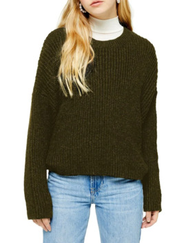Half Cardigan Crew Neck Sweater by Topshop