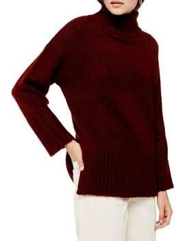 Oversize Deep Hem Funnel Neck Sweater by Topshop