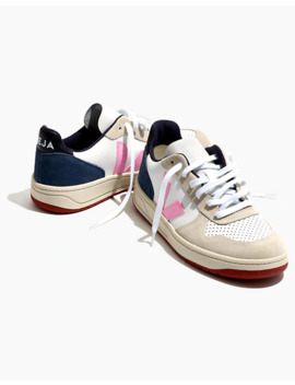 Madewell X Veja™ Leather V 10 Lace Up Sneakers In White With Pink And Navy Accents by Madewell