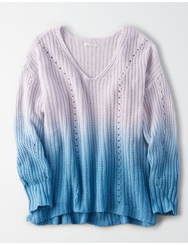 Ae Dip Dye V Neck Sweater by American Eagle Outfitters