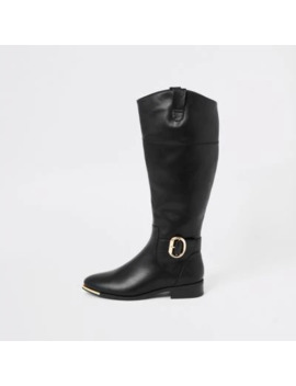 Black Buckle Knee High Boots by River Island