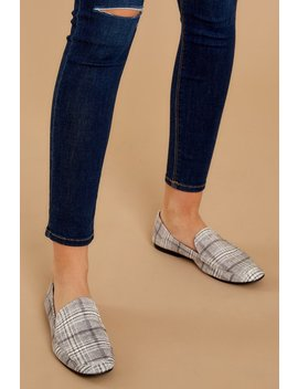Expect Success Grey Plaid Loafers by Qupid