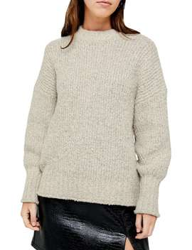 Balloon Sleeve Drop Shoulder Boucle Sweater by Topshop