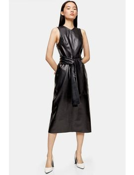 **Black Leather Tie Dress By Topshop Boutique by Topshop