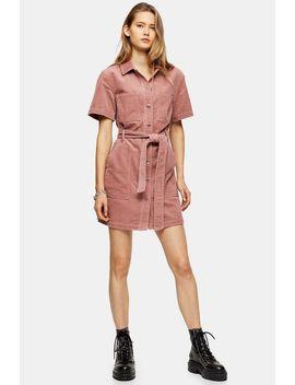 Pink Corduroy Short Sleeve Shirt Dress by Topshop