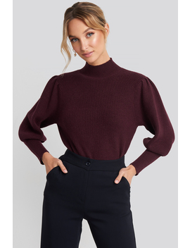 Wide Cuff Balloon Sleeve Knitted Sweater Rot by Na Kd