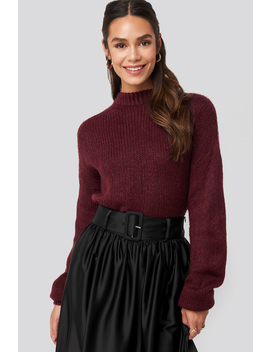 Round Neck Oversized Knitted Sweater Rot by Na Kd Trend