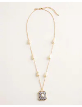Long Faux Pearl Sparkle Pendant Necklace by Chico's