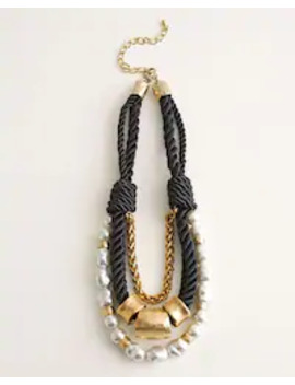Black And White Faux Pearl Rope Detail Multi Strand Necklace by Chico's