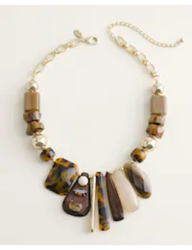 Short Neutral Beaded Bib Necklace by Chico's