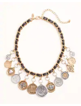 Textured Mixed Metal Coin Bib Necklace by Chico's