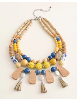 Yellow Beaded Multi Strand Necklace by Chico's