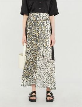 Abstract Animal Print Crepe Skirt by Me And Em